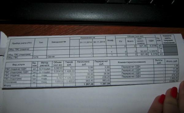 Что такое в квитанции ГВС на ОДН?